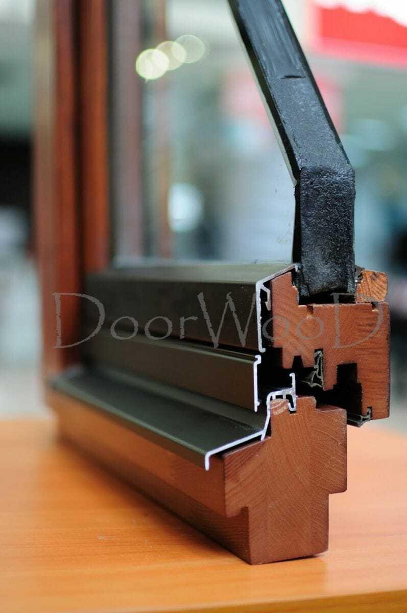 Евроокна деревянные со стеклопакетами, разрез окна