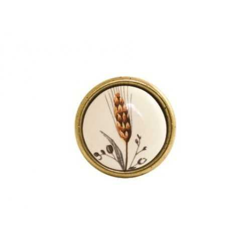 Ручка-кнопка мебельная Giusti (старая бронза с фарфором)