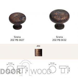 Sirena ручка-кнопка мебельная античная латунь