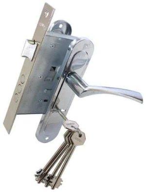 Комплект для входной двери BRUNO 7055 (ручка на планке + сувальдный замок 969-55 + 5кл) хром