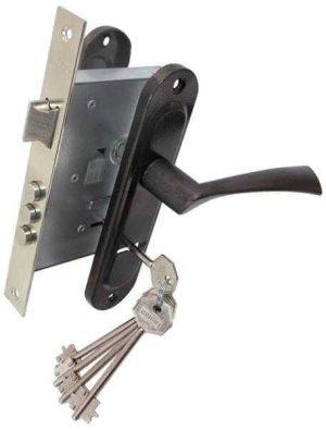 Комплект для входной двери BRUNO BR-55 (ручка на планке + сувальдный замок CY-5555F + 5кл) коричневый