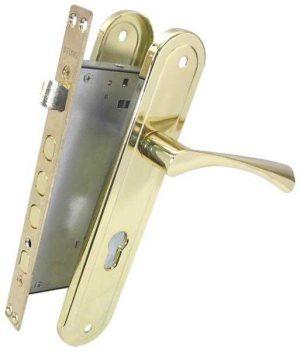 Комплект для входной двери BRUNO BR-80 (ручка на планке + механизм) полированная латунь правый