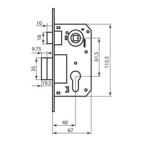 BRUNO Ручка на планке Siena кл + замок 1025 + цилиндр 60мм+ 3 кл мат никель/пол латунь