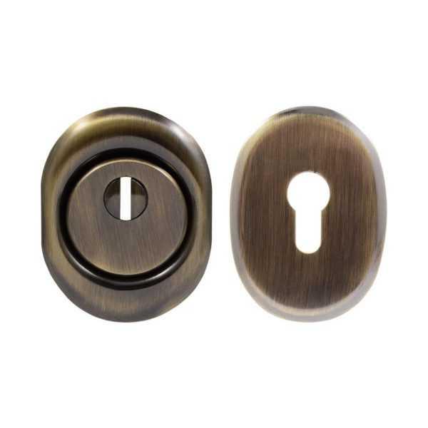 Броненакладка Protect 14mm c кольцом овальная AB ант латунь 1