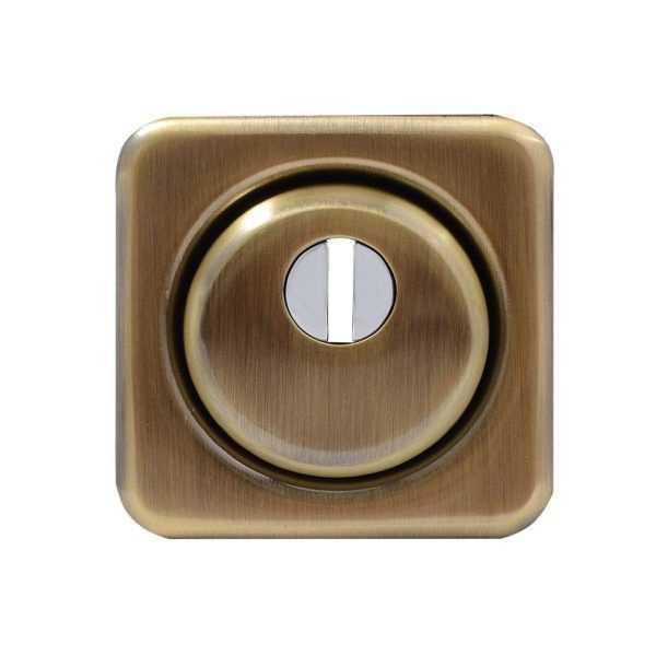 Броненакладка Protect 18mm c кольцом квадратная без ответной части AB ант латунь 1