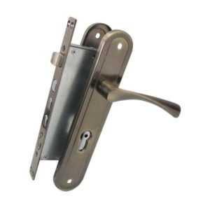 Комплект BRUNO BR-80 (ручка на планке + механизм) ант латунь правый