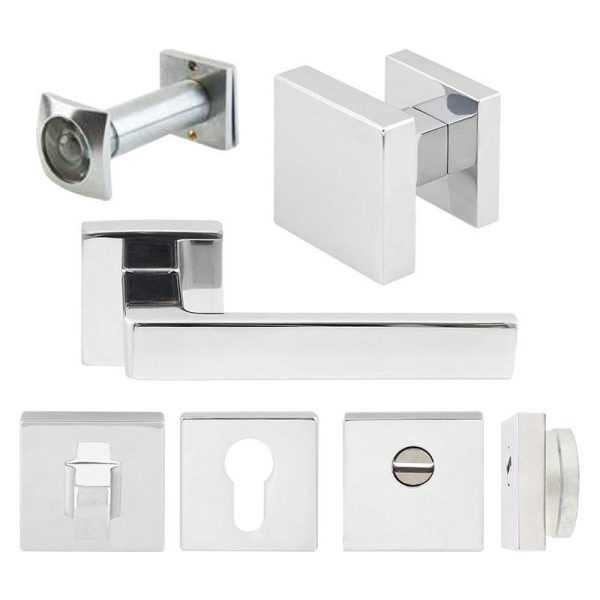 Комплект Quadra для входной двери (ручка,кноб,накладка под цилиндр,накладка в/ж,броненакладка,глазок) хром матовый 1