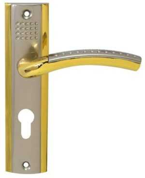 Комплект (ручка на планке 302+замок968/55мм+цилиндр латунь 65мм+5кл.