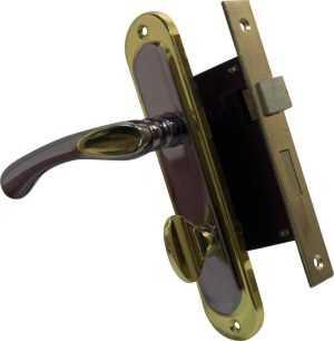 Pучка на планке 910K6 WC черный никель/золото + мех 1251 BRB WC мат.латунь вж