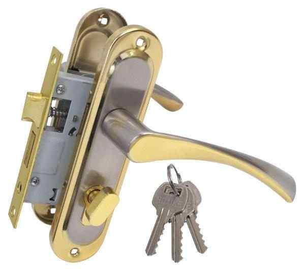 Ручка на планке Bravo 50мм мат никель/золото + замок 1250/40 никель англ. 68мм 3кл