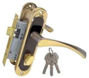 Ручка на планке Bravo 50мм черн никель/золото + замок 1250/40 никель англ. 68мм 3кл