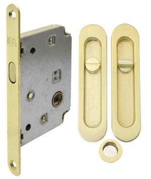 Комплект для раздвижных дверей RDA (ручка SL-155 + замок RDA с ответной планкой 4120) матовая латунь