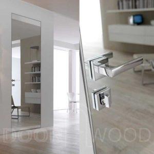Алюминиевые двери скрытого монтажа с зеркалом