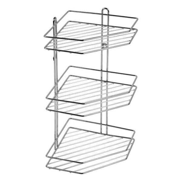 Полочка-сетка угловая тройная Arino изготовлена из высококачественной стали. Метал не боится влаги