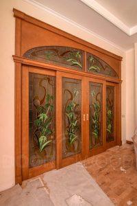 Арочная дверь массив Раздвижная система Витраж